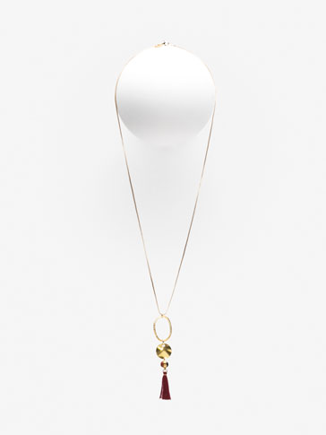 NECKLACE WITH TWO-TONE STONE AND POMPOM