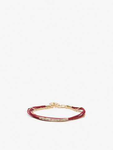 CONTRASTING CORD AND CHAIN BRACELET