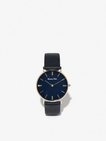 WATCH WITH BLUE LEATHER STRAP