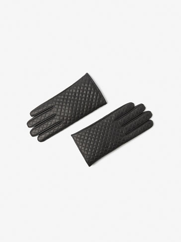 BLUE QUILTED CONTRAST GLOVES
