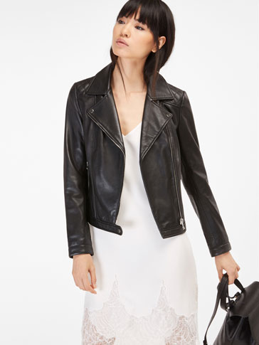 NAPPA BIKER JACKET QUILTED SHOULDER DETAIL