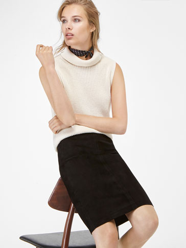 STRETCH SUEDE PENCIL SKIRT
