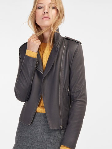 GREY NAPPA BIKER JACKET