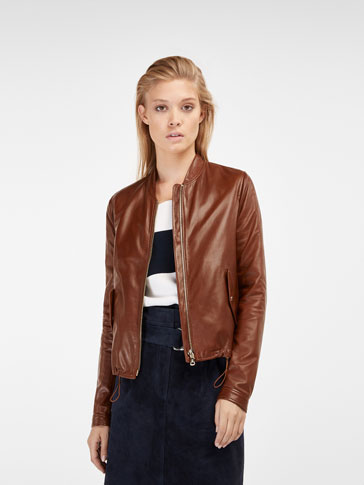 BROWN NAPPA BOMBER JACKET