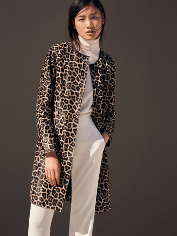 LEATHER ANIMAL PRINT COAT
