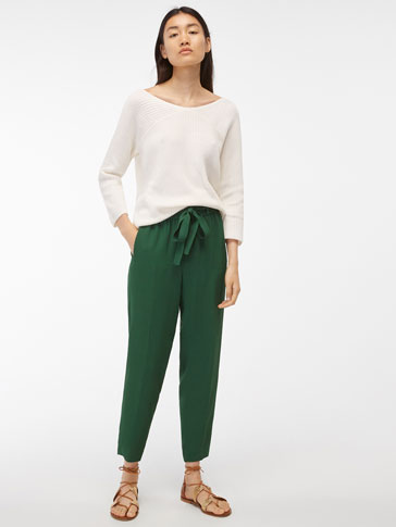 JACQUARD GREEN TROUSERS