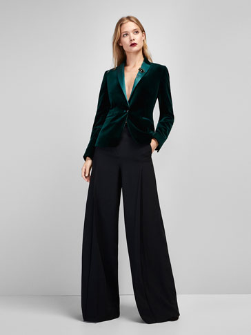 BLACK FLOWING PALAZZO TROUSERS