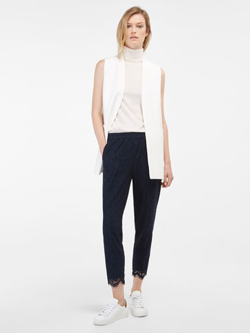 NAVY LACE TROUSERS