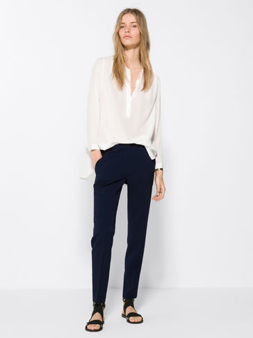 DEEP BLUE CREPE TROUSERS