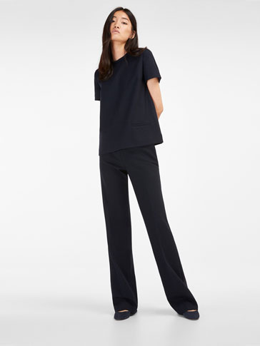 WIDE NAVY TROUSERS