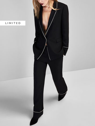 SUIT TROUSERS WITH PIPING DETAIL