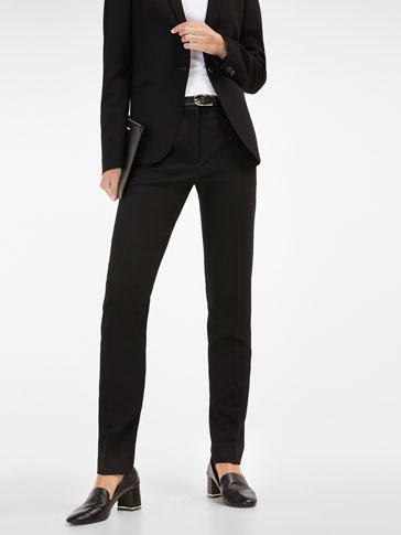 BLACK TEXTURED WEAVE SUIT TROUSERS