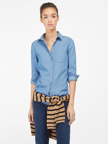 TEXTURED WEAVE DENIM SHIRT