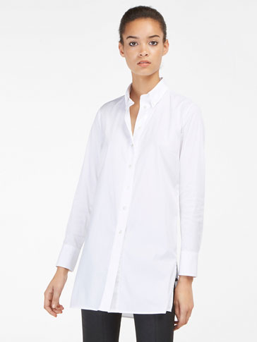 OVERSIZED POPLIN BLOUSE WITH BACK PLEAT