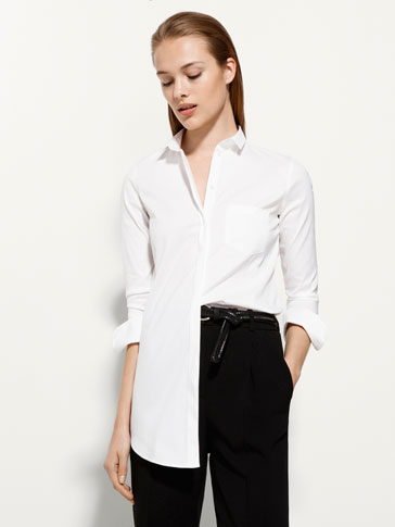 STRETCH POPLIN LARGE BLOUSE