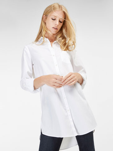 TEXTURED WEAVE ROLL-UP OVERSIZED BLOUSE