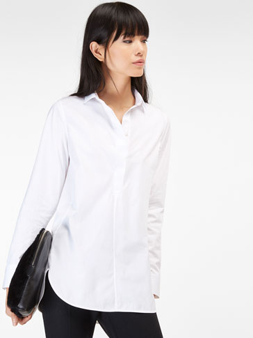 POLO NECK SHIRT WITH TRIANGULAR DETAIL