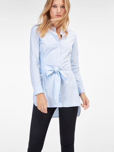 LOOSE-FIT POPLIN BLOUSE WITH A TIE DETAIL