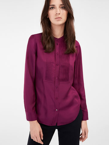 PLUM SHIRT WITH A CHEST DETAIL