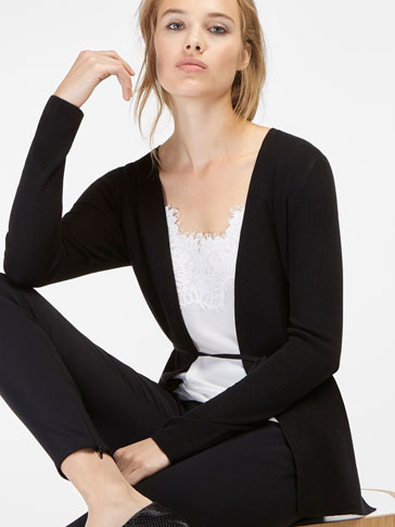 RIBBED CARDIGAN WITH TIE