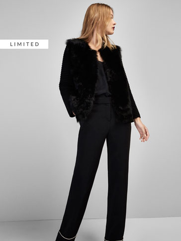 TEXTURED WEAVE CARDIGAN WITH FRONT FAUX FUR DETAIL