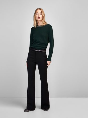 SWEATER WITH GEM DETAIL ON NECKLINE