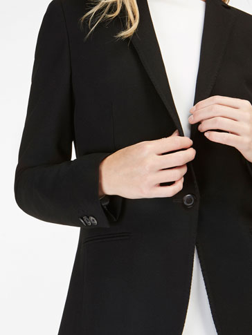 BLACK TEXTURED WEAVE SUIT BLAZER