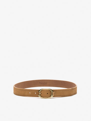 NUBUCK BELT WITH OVAL BUCKLE