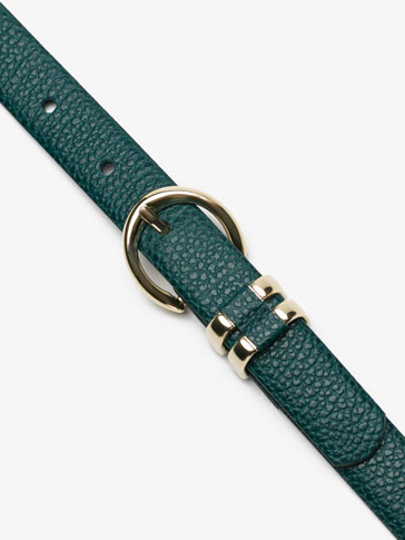 EMBOSSED LEATHER BELT WITH DOUBLE BELT LOOP DETAIL