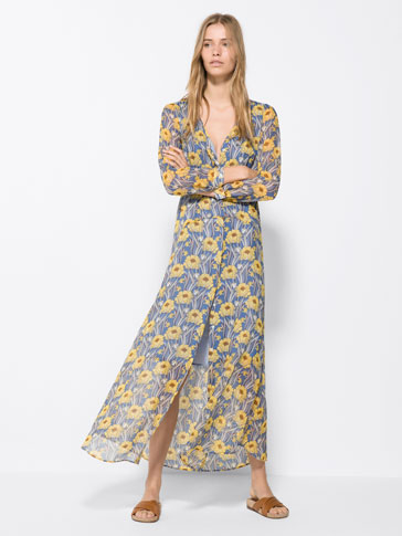 LONG DRESS WITH PRINTED FLOWERS