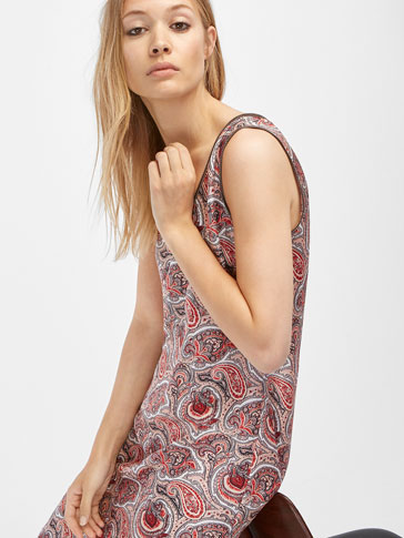 LEATHER DETAIL PRINTED DRESS