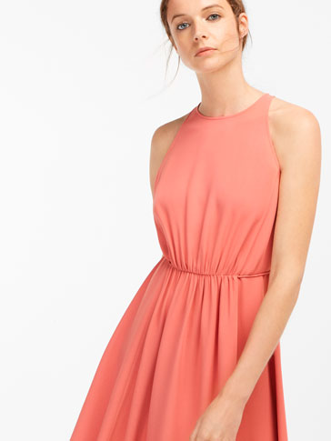 LONG HALTER NECK DRESS