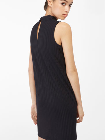 RIBBED HALTER NECK DRESS