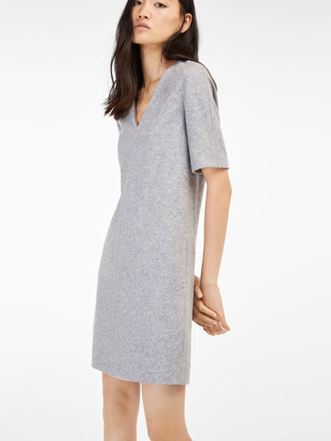 GREY DRESS WITH V-NECK