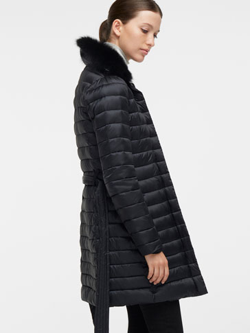 QUILTED PARKA WITH FUR DETAIL