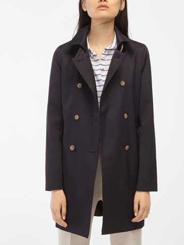 NAVY BLUE DOUBLE BREASTED TRENCH COAT