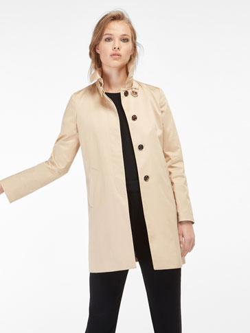 معطف طويل بني باهت