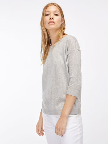 METALLIC SWEATER-STYLE T-SHIRT