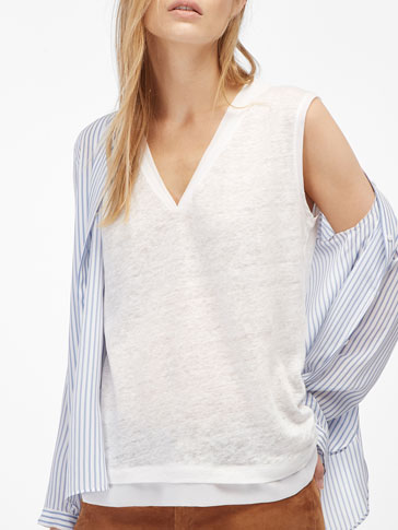 T-SHIRT WITH SHEER DETAILING