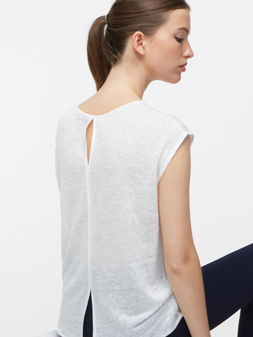 LINEN T-SHIRT WITH BACK OPENING