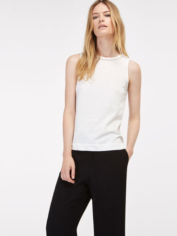 T-SHIRT WITH JEWEL NECK DETAIL