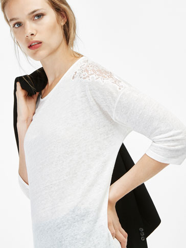 T-SHIRT WITH LACE SHOULDER DETAIL