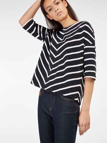 SWEATSHIRT WITH HERRINGBONE STRIPE DETAIL