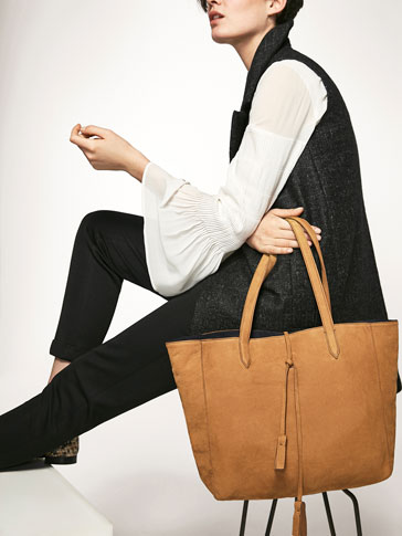 NUBUCK TOTE BAG WITH POMPOM DETAIL