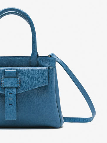EMBOSSED LEATHER MINI TOTE WITH A FRONT DETAIL
