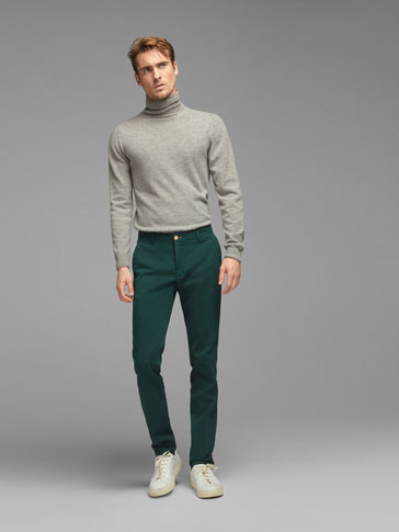 TWO-TONE CASUAL FIT TEXTURED WEAVE CHINOS
