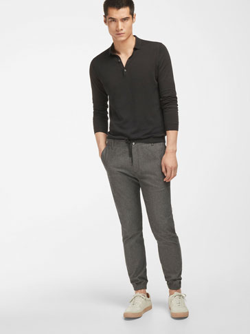SLIM FIT HERRINGBONE JOGGING TROUSERS