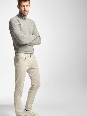 SLIM FIT MICRO TEXTURED WEAVE JEANS