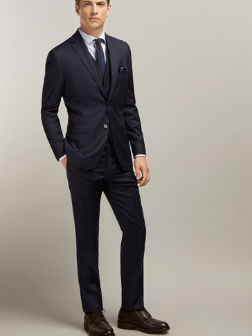 SLIM FIT WOOL MICROFIBRE SUIT TROUSERS