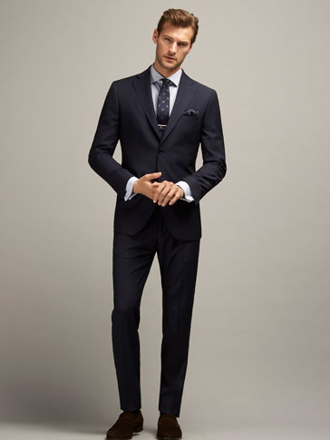 SLIM FIT BLUE CHECKED WOOL SUIT TROUSERS